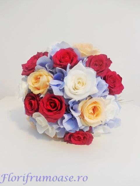 Buchet De Mireasa Cu Hortensii Albastre Trandafiri Somon Rosii