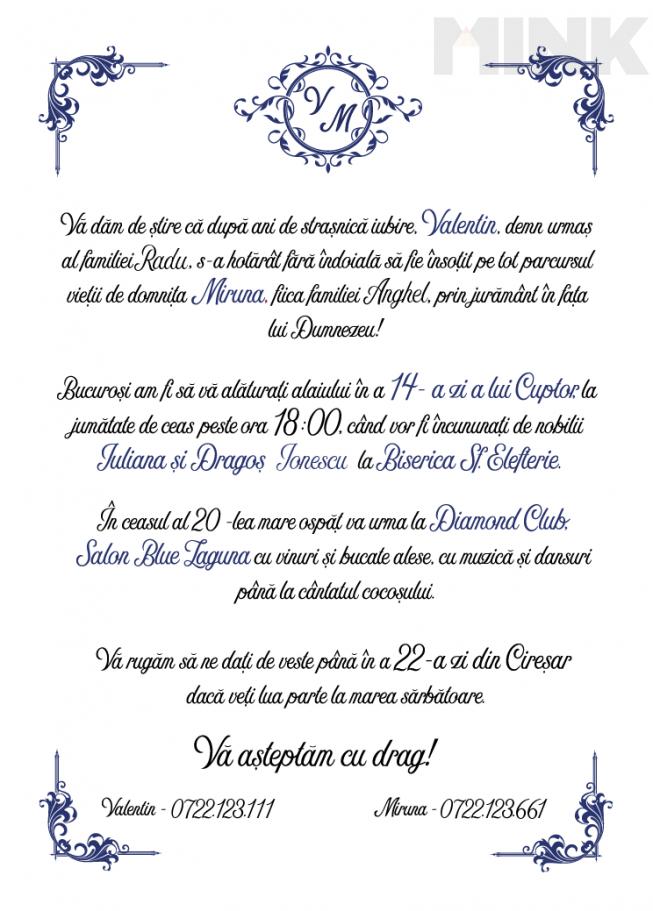 Invitatie De Nunta Clasica Mink 1393 Invitaţii La Nuntă