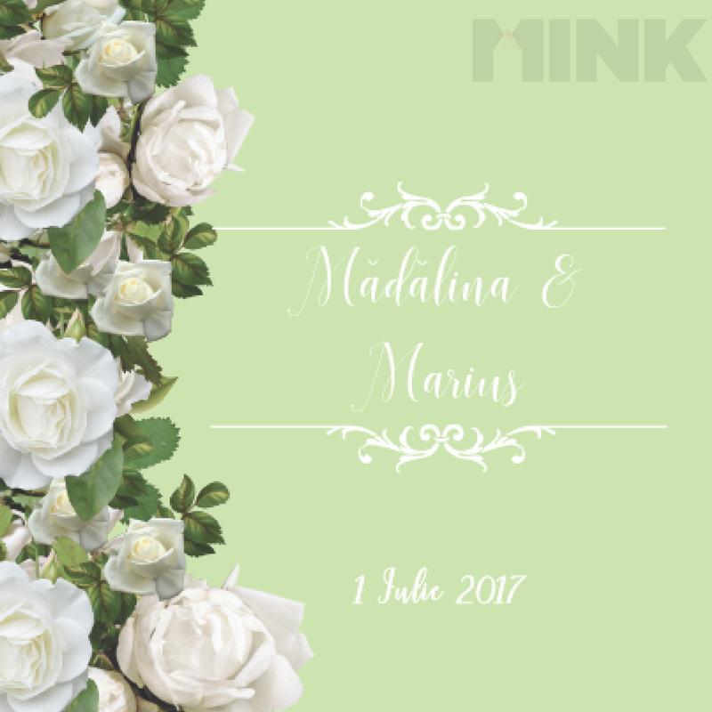 Invitatie De Nunta Clasica Cu Flori Albe Si Funda Mink 1320