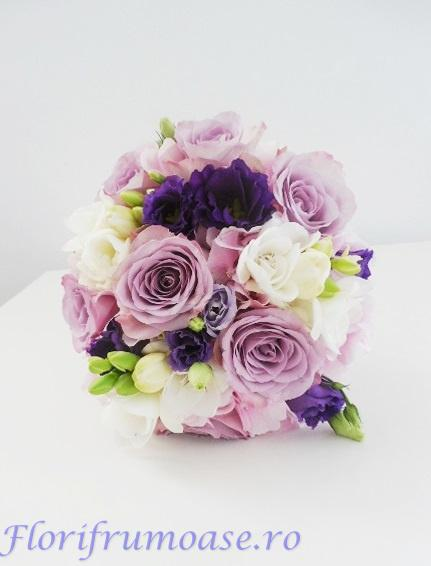 Buchet De Mireasa Nasa Din Hortensii Albe Trandafiri Lila