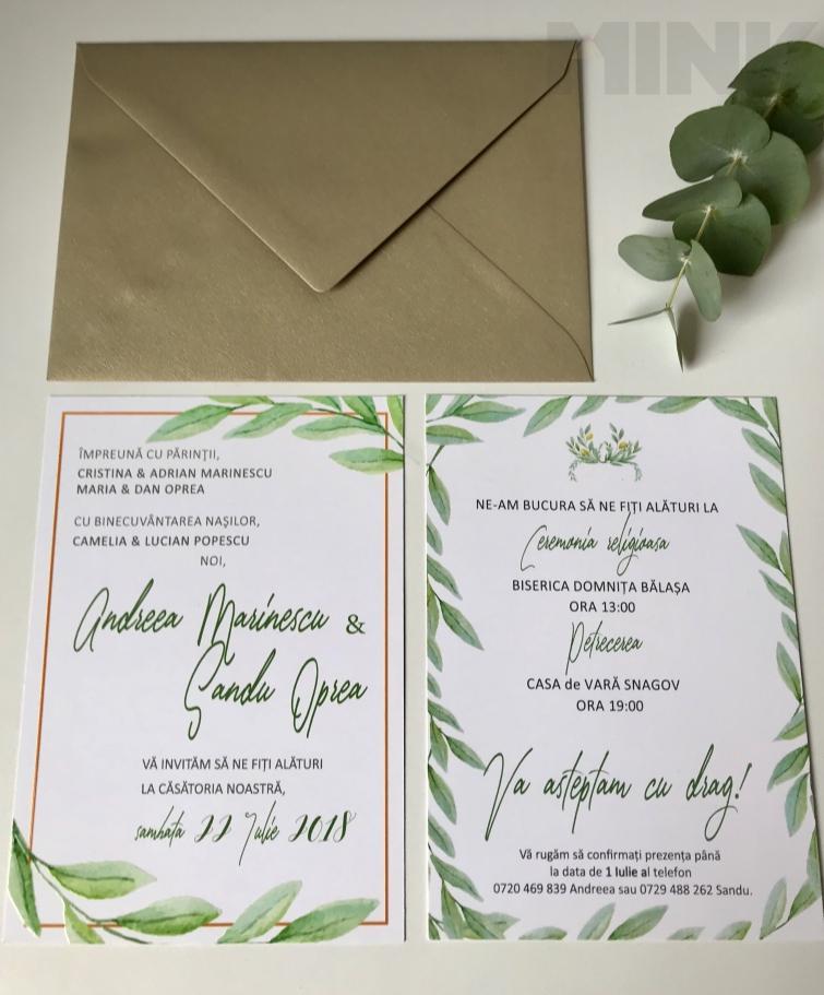 Invitatie De Nunta Cu Lauri De Maslin Mink 1365 Invitaţii La Nuntă